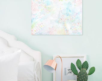 Modern Abstract Painting Acrylic Art Pastel colors Wall art Geometric Contemporary Pretty art Gift for her Room decor Canvas Small painting