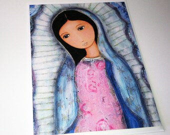 Holy mary of Guadalupe - Greeting Card 5 x 7 inches - Folk Art By FLOR LARIOS