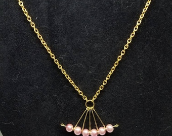 Gold and Pink Fan Necklace