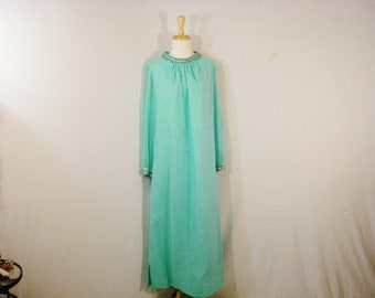 Vintage 1960s Dress Aqua Chiffon Long Beaded Neckline and Cuffs Maxi Dress XL