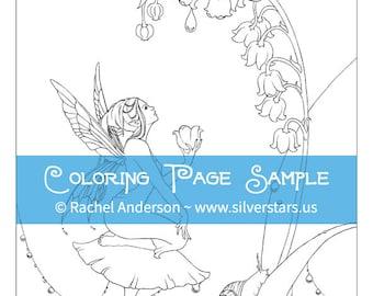 Maiglöckchen-Blumen-Fee Färbung Seite Digi Stamp druckbare digitale Download