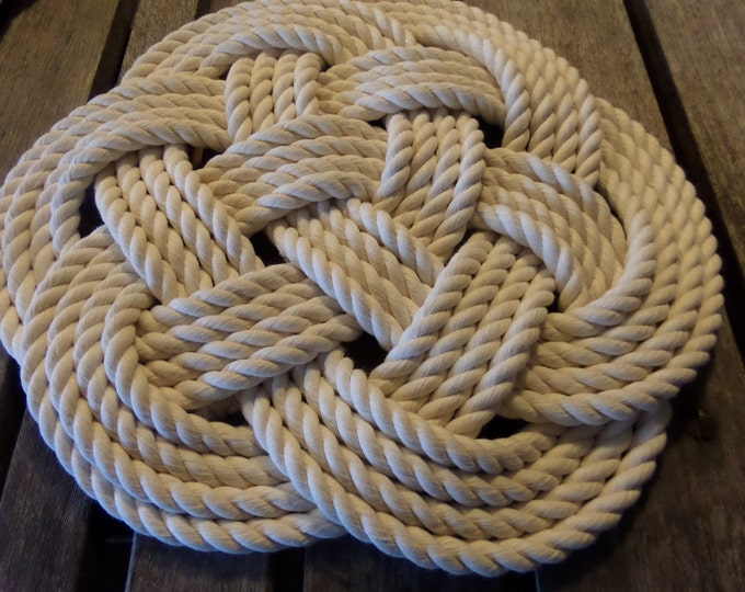 "Sale Rope Table Placemat Centerpiece Off White Cotton Knotted Mats 13"" Nautical Beach"