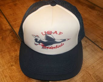 USAF Thunderbirds F16  Mesh Trucker Cap, 80's Snapback Hat, Air Force, Red White and Blue, Fighter Jets, Air Show