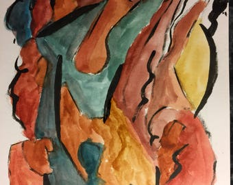 Nude Abstract Watercolor Figure Painting on Hotpress Watercolor paper 6x8 inches