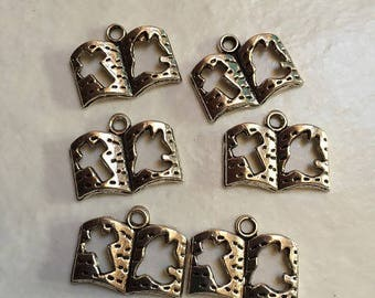 10 charms silver color 18x14mm bible book