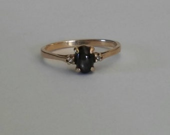 Vintage black sapphire diamond accented ring