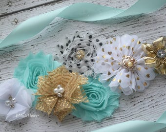 Aqua white gold Sash,flower Belt, maternity sash, wedding sash, flower girl sash, maternity sash belt