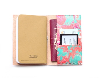 Mint Leather Passport Pocket Notebook Travel Holder Cover, Field Notes, Moleskine