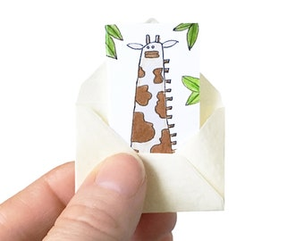 Giraffe birthday card, tiny birthday card, miniature card and tiny envelope, giraffe card, tiny card, blank card for animal lover