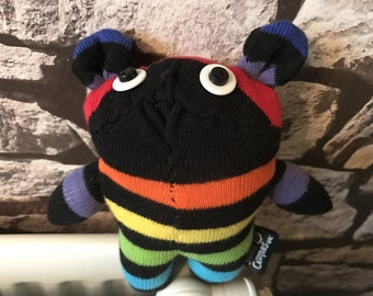 Handmade Rainbow Stripey Sock Bear