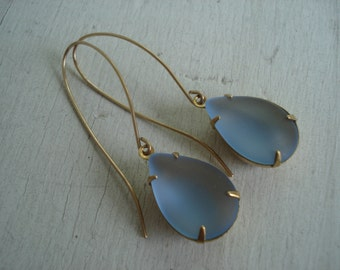 SALE Vintage Art Deco Pale Blue Frosted Glass Teardrop Dangle Earrings