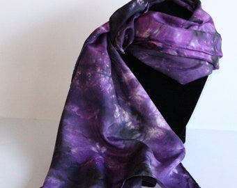 Silk Scarf, hand dyed, 14x72 inches, Purple/Black/Magenta