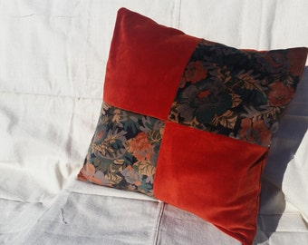 16 x 16 Pillow Cover Burnt Orange and Black Floral Velvet / Vintage Velvet Accent Pillow / Envelope Backing