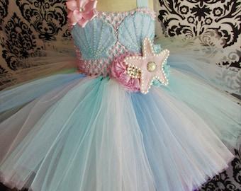 Baby Mermaid Dress /Pink Mermaid Costume/Mermaid dress/Pink mermaid/mermaid Dress/Baby Girl Outfit/Mermaid Birthday dress/pastel mermaid