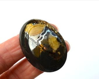 41 x 29 x 10 mm  Simbircite (simbercite) gemstone cabochon, yellow brown stone