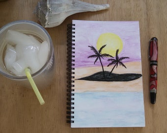 Hand Painted Cover; Spiral Notebook, Sketchbook; Premium Unlined Paper for Visual Journal; Writing, Sketching, Doodling; Beach Landscape