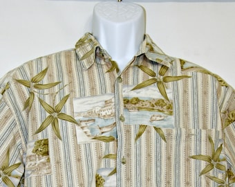 Bamboo Island Print, Hawaiian Aloha Shirt, Mens XL, Stripes, Post Card, Stripes, Boats, Sailing, Tropical, Surfer, Geek, Pool Party, Tiki