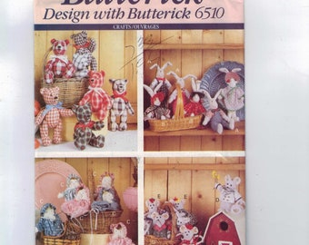 Craft Sewing Pattern Butterick 6510 Stuffed Animals Baby Bear Mouse Rabbit Bunny UNCUT