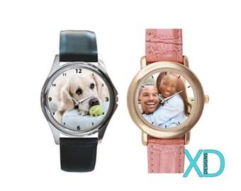 Custom Watch, Photo Watch, Custom Leather Watch, Personalized Watch, Custom Gift, Monogram Watch, Photo Gift, Gift Idea, Birthday Gift