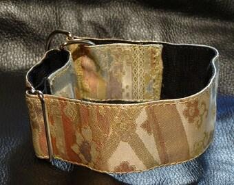 Dog Collar Adjustable Size Martingale Gorgeous Vintage Obi Brocade Handmade
