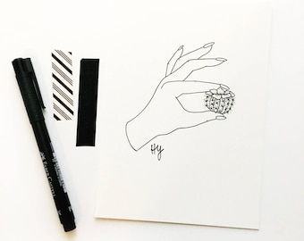 Cactus Botanical Drawing, Cacti Art, Succulent Pen and Ink Art, Black and White Minimalist Wall Art, Simple Home Decor Gift
