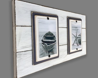 Double Plank Frame for 4x6 Pictures White and Navy Blue Distressed Wood Photo Frame Rustic