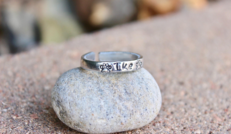 Dog Name Ring Paw Print Stamps Adjustable Ring HandStamped Ring