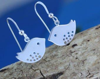 Bird Earrings . Sterling Silver Bird Earrings - Dangle Earrings, Silver Earrings, Sparrow Earrings