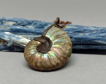 Raw Stone Jewelry - Opalized Ammonite - Copper Electroformed - Rustic - Hippie Gifts - Boho - Fossil Pendant - Ammonite - Ammonite Pendant