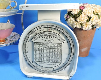 Mail Scale Vintage 1963 Pelouze Y Line Model White Postage Letter Package Industrial Weighing Device Postal Scale Air Mail 10 LB Capacity