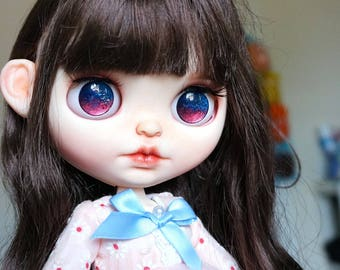 Glass Eye Chips for Neo Blythe Doll Custom - Galaxy Red Blue Glitters Metallic Paints Hand painted Eyechips - FREE Shipping