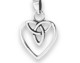 Sterling Silver Celtic Heart with Trinity Knot pendant