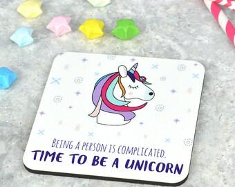 Unicorn coaster,  cute unicorn coaster, funny unicorn coaster, gift for unicorn lover, gift for her