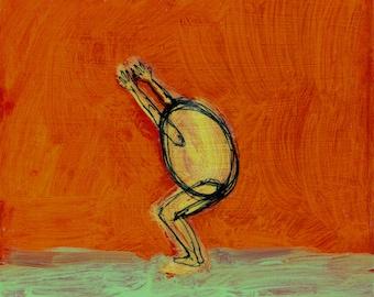 Utkatasana Humpty - original small painting, original art by Irene Stapleford, one of a kind - wantknot shop