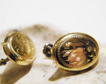 Vintage Etched Oval Gold Filled Earrings with Sterling Silver Screw Backs, Floral Gold Filled Screw Back Earrings
