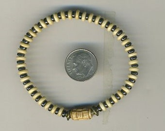Hand Cut African Bone Rondelles, Carved Baluchi Bone Focal Bead With African Brass, Native Hematite Rondelles