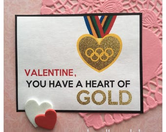 Digital Olympic Valentine Heart of Gold Medal 2018 Winter Olympics Valentine Card Tag Instant Download Pdf file