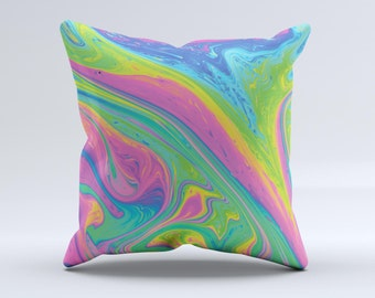 The Watercolor Neon Color Fusion V3 ink-Fuzed Decorative Throw Pillow