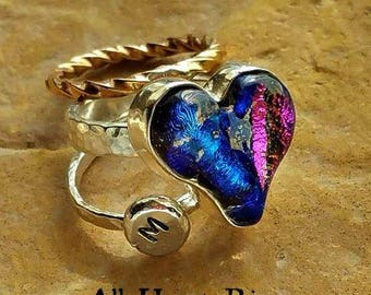 Memorial Heart Ring in Silver with stacking rings, Ashes in Glass, Pet Memorial, Cremation Jewelry
