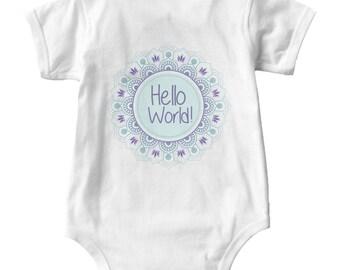 Boho Baby Onsie Hello World Mandala Baby Shirt Onsie Custom Designs Personalized Designs Just Ask