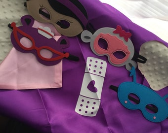 DocMcstuffins felt masks and cape set
