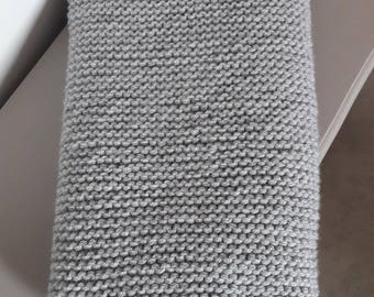 Hand knitted grey baby blanket
