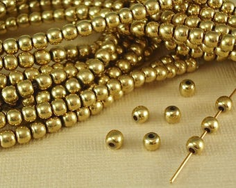 100 Raw Brass Beads 4mm Solid Round Plain Polished Seamless Plain Spacer BOHO Quality Jewelry Natural Metal Beads center drilled