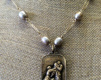 1918 WWI French Charity Medal for Children of Soldiers Necklace