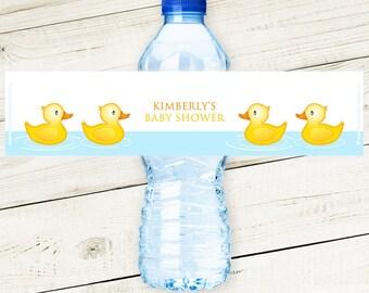 Rubber Ducky Water Bottle Labels - Peel & Stick #babyshower