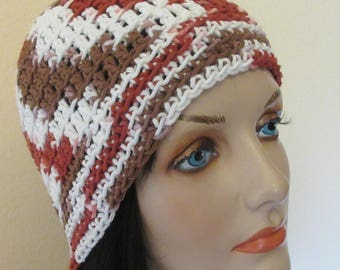 Crocheted Cotton Hat, Crochet Summer Beanie, Warm Weather Accessory, Spring Hat