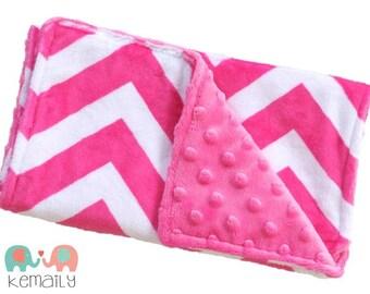 Hot Pink Chevron Minky Burp Cloth, Drool Bib, Burp Cloths Newborn, Baby Shower Gift,  Feeding, Nursing, New Mom Essentials