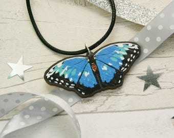 Blue Morpho Butterfly Necklace - Blue Butterfly Jewellery - Wood Laser Cut Butterfly Pendant Jewelry - Garden Gift For Mum - Gardening Gifts