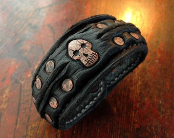 Leather Cuff Bracelet / Copper Skull and Rivet(Two row)
