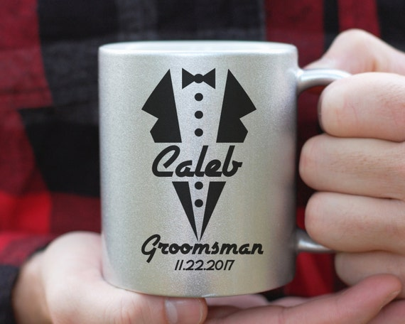 Silver Metallic Groomsman Tuxedo Mug